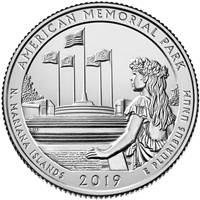 2019 - P American Memorial Park, NMI National Park Quarter Single Coin