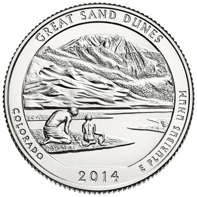 2014 - S Great Sand Dunes National Park Quarter Single Coin