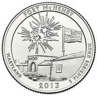 2013 - P Fort McHenry National Park Quarter Single Coin