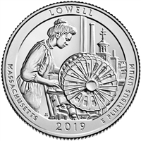 2019 - D Lowell National Historical Park, MA National Park Quarter Quarter Single Coin