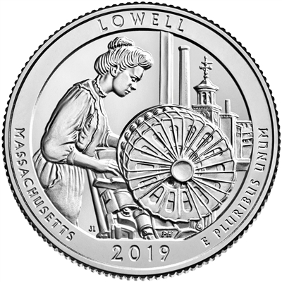 2019 - P Lowell National Historical Park, MA National Park Quarter 40 Coin Roll