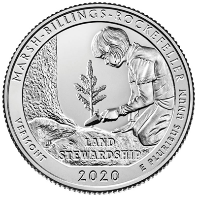 2020 - D Marsh-Billings-Rockefeller National Historical Park, VT Quarter Single Coin
