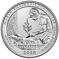 2020 - P Marsh-Billings-Rockefeller National Historical Park, VT Quarter Single Coin