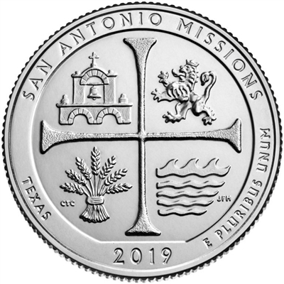 2019 - P San Antonio Missions National Historical Park, Texas National Park Quarter Single Coin