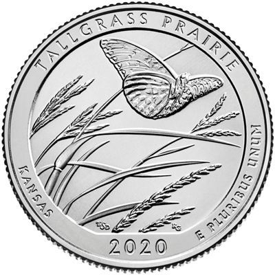 2020 - P Tallgrass Prairie National Preserve, KS Quarter Single Coin
