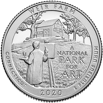 2020 - D Weir Farm National Historic Site Quarter 40 Coin Roll
