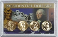 2012 - D Set of 4 Uncirculated Presidential Dollars in Full Color Holder
