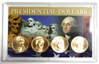 2014 - D Set of 4 Uncirculated Presidential Dollars in Full Color Holder