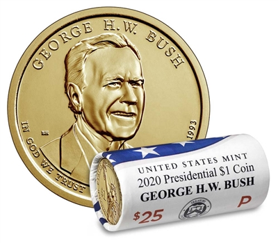2020 - P George H.W. Bush - Roll of 25 Presidential Dollars