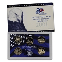 2001 - S Clad Proof State Quarter 5-pc. Set With Box/ COA