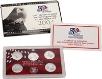 2004 - S Silver Proof State Quarter 5-pc. Set With Box/ COA