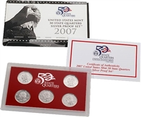 2007 - S Silver Proof State Quarter 5-pc. Set With Box/ COA