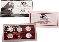 2008 - S Silver Proof State Quarter 5-pc. Set With Box/ COA