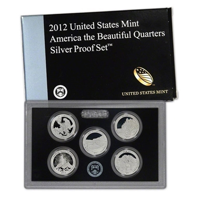 2012 - S Silver Proof National Park Quarter 5-pc. Set With Box/ COA
