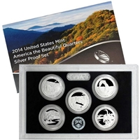 2014 - S Silver Proof National Park Quarter 5-pc. Set With Box/ COA