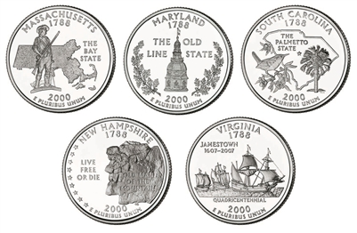 2000 P and D BU State Quarter 10 Coin Set