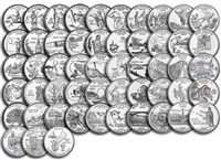 "1999-2009 Complete 56-coin ""D"" State Quarter Series Set with State & Territory Quarter Map"