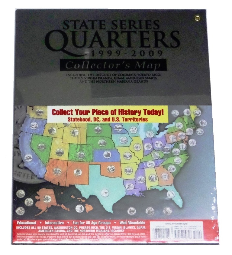 """Complete 56-coin /""""D/"""" State Quarter Series Set with State /&Territory  Quarter Map"""
