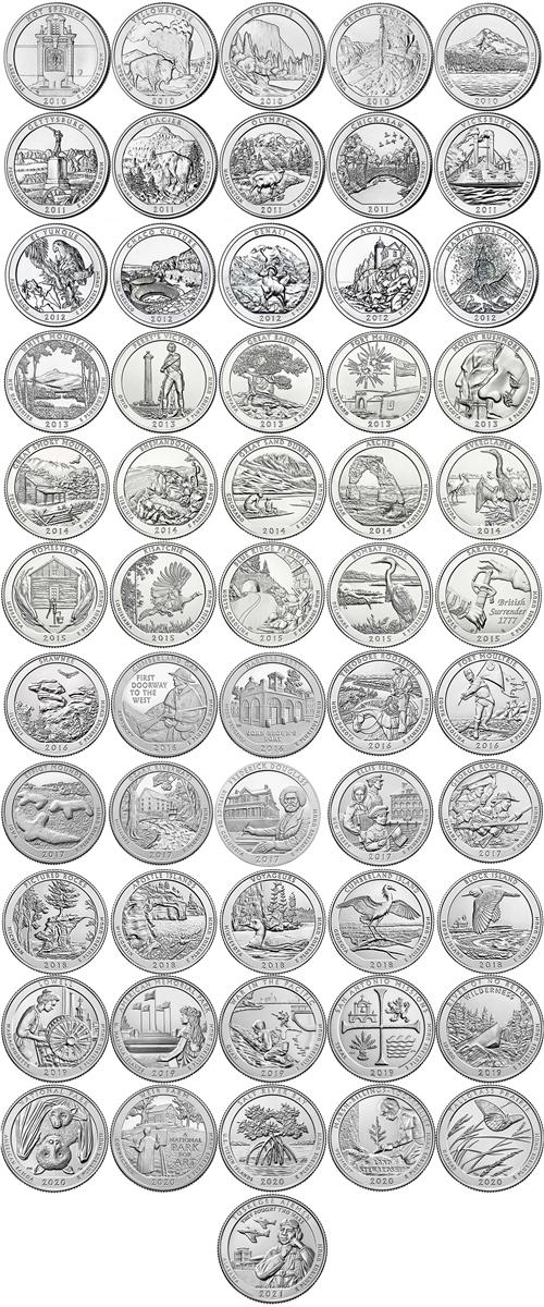 2010 2017 P And D Bu National Park Quarter 80 Coin Set
