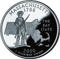 2000 - P Massachusetts - Roll of 40 State Quarters