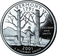 2001 - D Vermont - Roll of 40 State Quarters