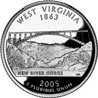 2005 - D West Virginia - Roll of 40 State Quarters