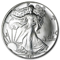 1987 U.S. Silver Eagle - Gem Brilliant Uncirculated with Certificate of Authenticity
