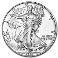 1991 U.S. Silver Eagle - Gem Brilliant Uncirculated with Certificate of Authenticity