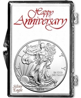 1992 U.S. Silver Eagle in Happy Anniversary Holder - Gem Brilliant Uncirculated
