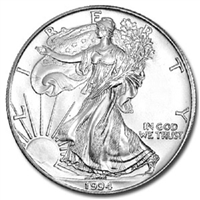 1994 U.S. Silver Eagle - Gem Brilliant Uncirculated with Certificate of Authenticity