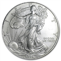 1996 U.S. Silver Eagle - Gem Brilliant Uncirculated with Certificate of Authenticity