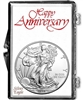 1996 U.S. Silver Eagle in Happy Anniversary Holder - Gem Brilliant Uncirculated
