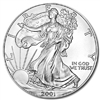 2001 U.S. Silver Eagle - Gem Brilliant Uncirculated with Certificate of Authenticity