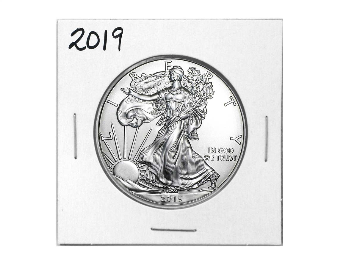 1986 American Silver Eagle in Plastic Air Tite and Blue Gift Box with our Certificate of Authenticity Dollar Uncirculated Us Mint