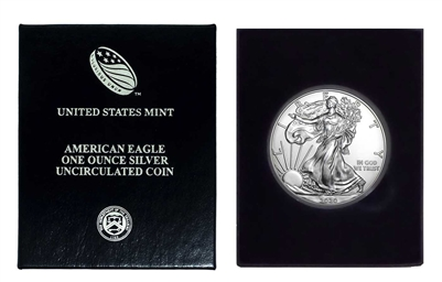 2020 U.S. Silver Eagle in Plastic Air Tite and Blue Gift Box - Gem Brilliant Uncirculated