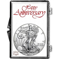 2021 U.S. Silver Eagle in Happy Anniversary Holder - Gem Brilliant Uncirculated