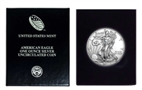 2021 U.S. Silver Eagle in Plastic Air Tite and Blue Gift Box - Gem Brilliant Uncirculated with Certificate of Authenticity