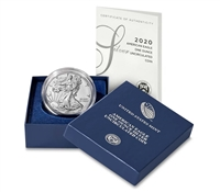 2020 W Burnished American Silver Eagle in OGP with CoA - Below US Mint Pricing