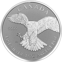 2016 Canadian Peregrine Falcon Reverse Proof One Ounce Silver Coin