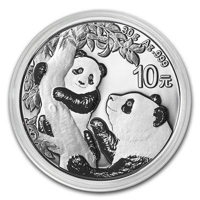 2021 China 30g Silver Panda ¥10 Coin Gem BU