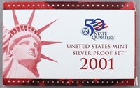 2001 U.S. Mint 10-coin Silver Proof Set - OGP box & COA