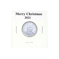Donald J. Trump Memorabilia 1/10th oz Merry Christmas Sticker Silver Round in 2x2 Holder
