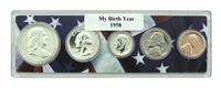 1958 Birth Year Coin Set in American Flag Holder