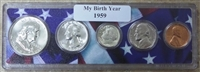 1959 Birth Year Coin Set in American Flag Holder