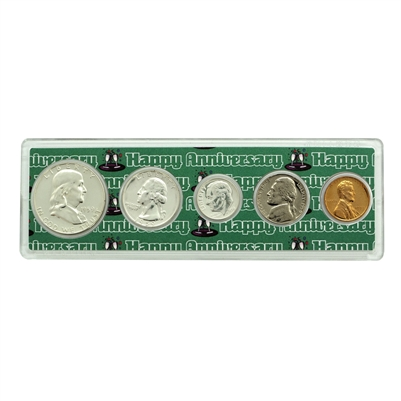 1959 - 60th Anniversary Year Coin Set in Happy Anniversary Holder