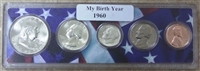 1960 Birth Year Coin Set in American Flag Holder