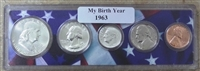 1963 Birth Year Coin Set in American Flag Holder