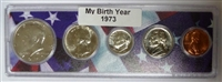 1973 Birth Year Coin Set in American Flag Holder