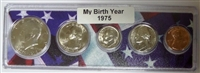 1975 Birth Year Coin Set in American Flag Holder