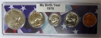 1976 Birth Year Coin Set in American Flag Holder